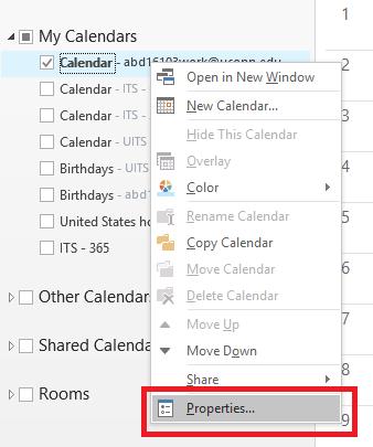 Properties option in outlook calendar menu.