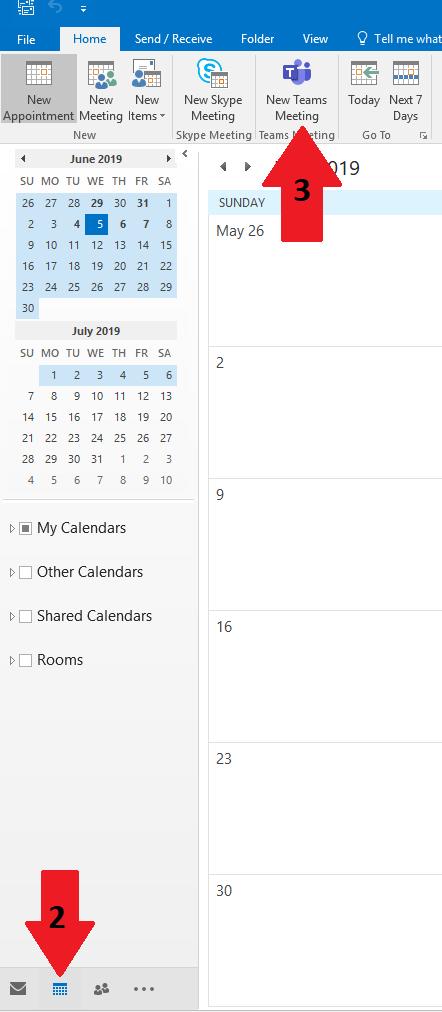 Screenshot of Outlook calendar.