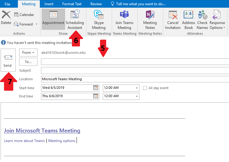 New meeting through outlook.